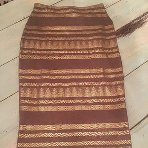 River Island Gold Foiled Knit Midi Skirt - Sz 2